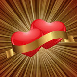 Hearts in gold Royalty Free Stock Image