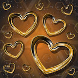 Hearts of gold Royalty Free Stock Photo