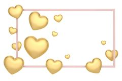 Hearts and gold frame valentines day background. 3D illustration.  stock illustration