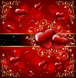 Hearts with gold ornate elements on red background Royalty Free Stock Image