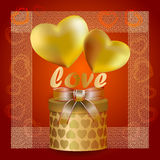 Hearts of gold with transparent ribbon Stock Photos