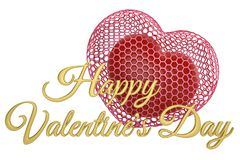 Hearts and golden happy valentine`s day text.3D illustration. Hearts and golden happy valentine`s day text. 3D illustration vector illustration