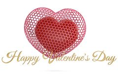 Hearts and golden happy valentine`s day text.3D illustration. Hearts and golden happy valentine`s day text. 3D illustration stock illustration