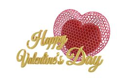 Hearts and golden happy valentine`s day text.3D illustration. Hearts and golden happy valentine`s day text. 3D illustration royalty free illustration