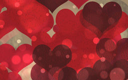Hearts. Golden lights background digital art with some red hearts Stock Photo