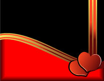Hearts and golden ribbon. Valentine day illustration with hearts and golden ribbon Stock Photography