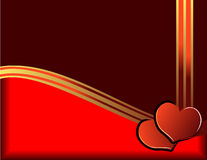Hearts and golden ribbon Stock Photos