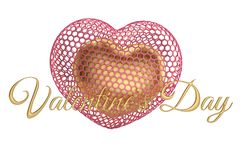 Hearts and golden valentine`s day text.3D illustration. Hearts and golden valentine`s day text. 3D illustration stock illustration