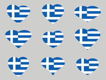 Hearts with the Greece flag. I love the Greece. Greece flag icon set. Vector Stock Images