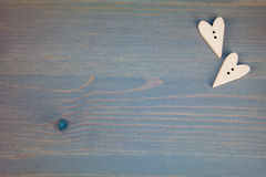 Hearts on grey wooden background. Button love. Wooden buttons. Post card for the Valentine Stock Photo