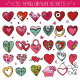 Hearts hand drawing doodle set.Colored decoration Royalty Free Stock Images