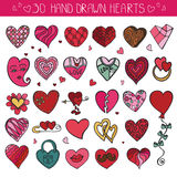 Hearts hand drawing doodle set.Colored decoration Royalty Free Stock Photo