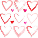 13 Hearts Hand Drawn Effect Royalty Free Stock Photos
