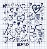 Hearts Hand Drawn Elements Written by Ink Pen stock illustration