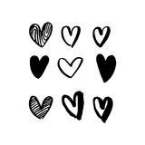 Hearts hand drawn vector art icons for Valentine day Stock Images