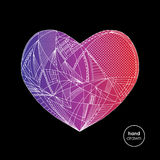 Hearts hand drawn vector background. Abstract stylized love illustration. Royalty Free Stock Photography