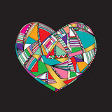 Hearts hand drawn vector background. Abstract stylized love illustration. Stock Photo
