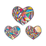 Hearts hand drawn vector background. Abstract stylized love illustration. Stock Image