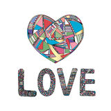 Hearts hand drawn vector background. Abstract stylized love illustration. Royalty Free Stock Image