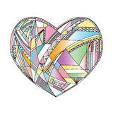 Hearts hand drawn vector background. Abstract stylized love illustration. Stock Photography