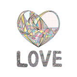 Hearts hand drawn vector background. Abstract stylized love illustration. Royalty Free Stock Photo