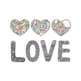 Hearts hand drawn vector background. Abstract stylized love illustration. Stock Images