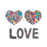 Hearts hand drawn vector background. Abstract stylized love illustration. royalty free illustration