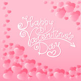 Hearts with a hand lettering of Happy Valentine`s Day. Holiday card, shipping label, packaging. Invitation for party. Stock Photography