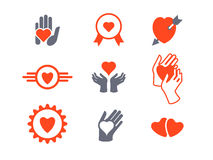 Hearts, hands icon set. Concept of love, care, protection Stock Image