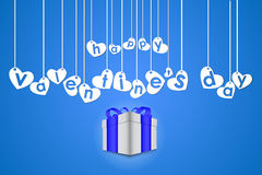 Hearts hang on threads. Illustration of hearts which hang on threads, a blue background. A box with a gift. Vector illustration Royalty Free Illustration