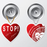 Hearts hanging on door knob Royalty Free Stock Photo