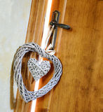 Hearts hanging doorknob of a couple in love Royalty Free Stock Photography