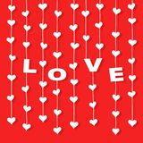 Hearts hanging and letters Â«LOVE» on strings. White hearts and letters «LOVE» hanging on strings at red background. Vector illustration for valentine or stock illustration