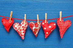 Hearts hanging on line Royalty Free Stock Image