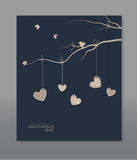 Hearts hanging on a tree branch. Vector festive background Valentine`s Day. Vintage. Template for postcards. Hearts hanging on a tree branch Stock Images