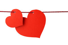 Hearts hanging from a twine Royalty Free Stock Photos