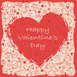 Hearts happy Valentine`s Day  - Doodles collection Stock Images