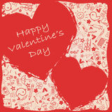 Hearts happy Valentine`s Day  - Doodles collection. Illustration card -  For valentines day Royalty Free Stock Images