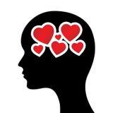 Hearts in head Royalty Free Stock Photo