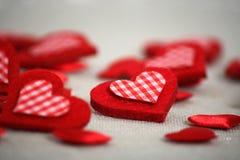 Hearts Heap. Red Valentine Hearts Heap on Gray Background Stock Photo