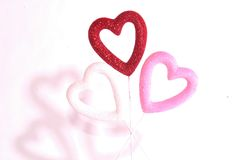Hearts and hearts. Puffy red, white  and pink glitter hearts Royalty Free Stock Image