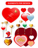 Hearts, hearts in the form of pins, a sail, a hairpin. Stock Photo