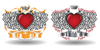 Hearts heraldic. There are heraldic hearts with ribbons and crowns Royalty Free Stock Image