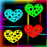 Hearts in a hole, star, circle and heart. Stock Photo