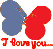 2 hearts I love you. 2 hearts and inscription  I love you Royalty Free Stock Photos