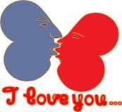 2 hearts I love you. 2 hearts and inscription I love you Royalty Free Illustration