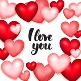 Hearts I Love You. Vector Illustration of Valentine Day Greeting Card Vector Illustration