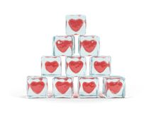 Hearts in ice cube Royalty Free Stock Images