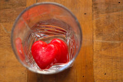 Hearts - ice cubes in a glass Royalty Free Stock Images