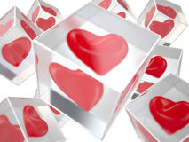 Hearts in ice, 3D Royalty Free Stock Photography